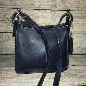 COACH LEGACY Vintage Navy Leather Mini X-Body Bag